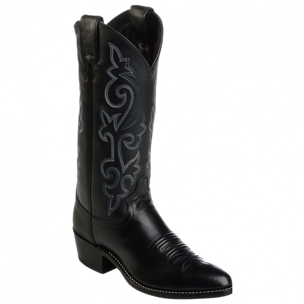 Justin Boots Western Black London Calf (Med. Round Toe)