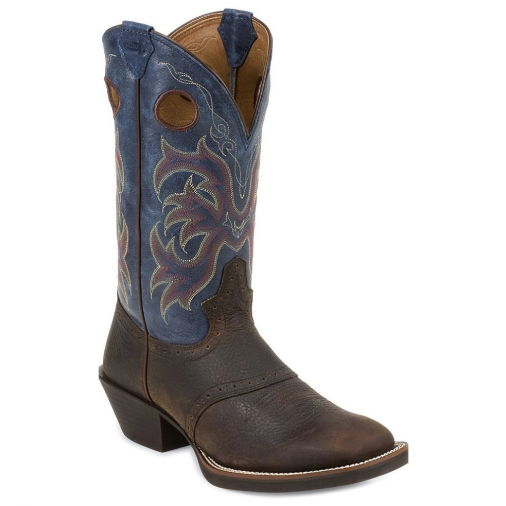 Justin Boots 12in Stampede Punchy Square Toe Blue Casual