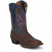 Justin Boots Stampede Brown Rawhide W/Perfed Saddle (Toddler / Youth)