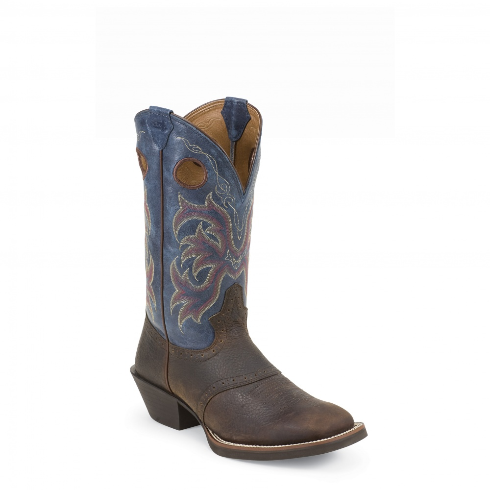 Justin Boots Dark Brown Rawhide W/Saddle