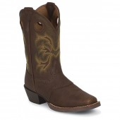 Justin Boots Stampede Dark Brown Rawhide W/Perf Saddle (Toddler / Youth)