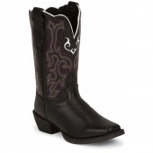 Justin Boots Stampede Black Deercow Square Toe (Toddler / Youth)