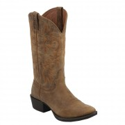 Justin Boots Stampede Tan Puma Cow Round Toe