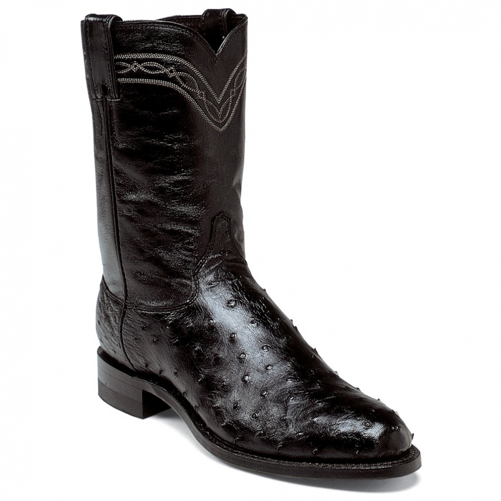 Justin Boots Black Full Quill Ostrich 10in
