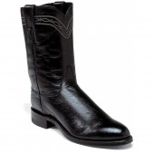 Justin Boots Black Smooth Ostrich Exotics