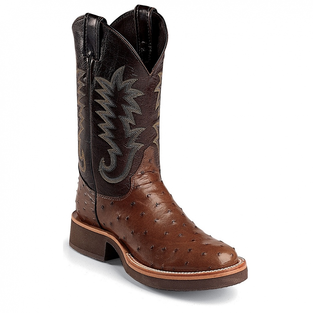 Justin Boots Antique Brown Full Quill Ostrich 11in