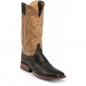 Justin Boots Black Smooth Ostrich