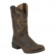 Justin Boots Stampede Dark Brown Rawhide W/Saddle