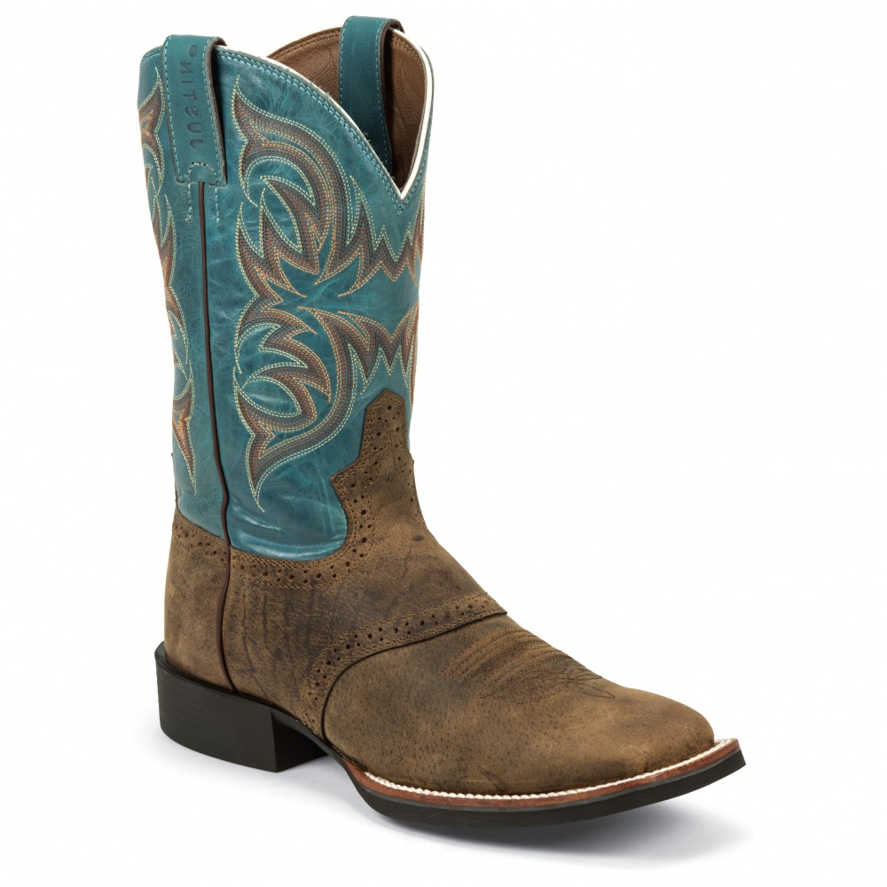 Justin Boots Tan Distressed Buffalo
