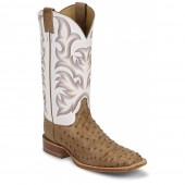 Justin Boots Antique Tan Vintage Full Quill Ostrich