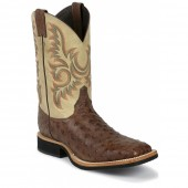 Justin Boots Antique Brown Vintage Full Quill Ostrich AQHA Q-Crepe