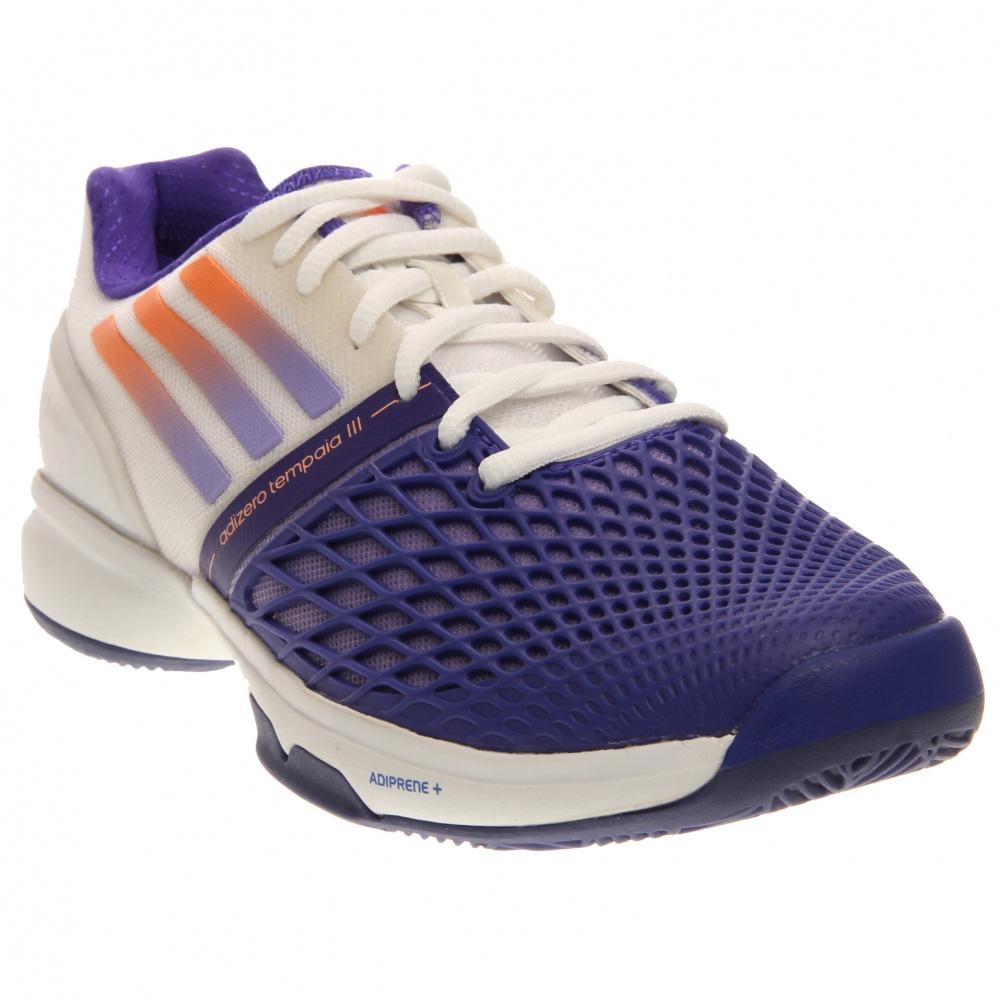 Image of adidas - CC Adizero Tempaia III (White/Light Flash Purple/Night Flash) Women's Tennis Shoes