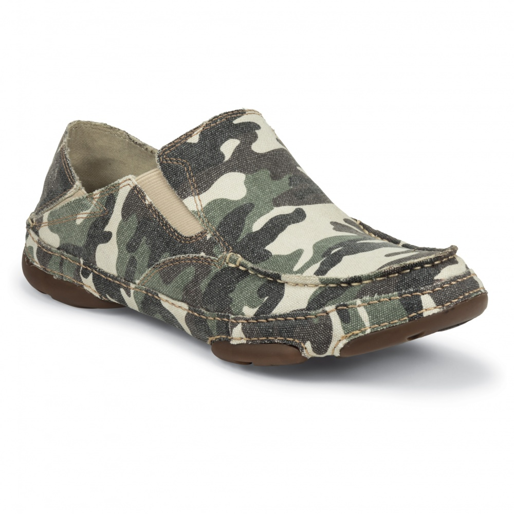 Tony Lama Washed Camo Canvas Twin Gore Slip-On