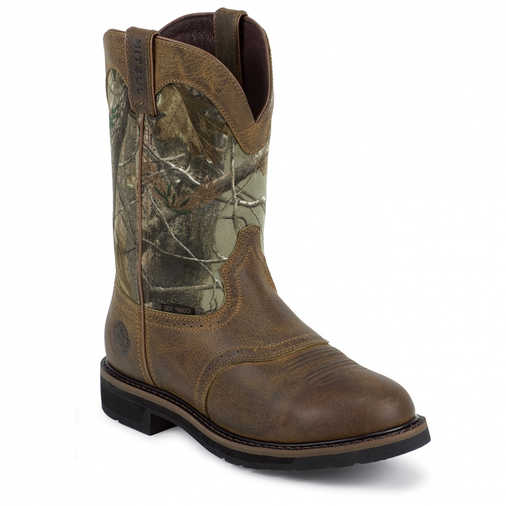 Justin Original Work Rugged Tan Waterproof Composition Toe