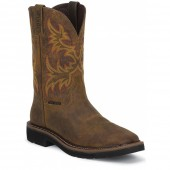 Justin Original Work Rugged Tan Cowhide Steel Toe