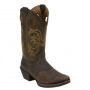 Justin Boots Dark Brown Rawhide W/Saddle Punchy