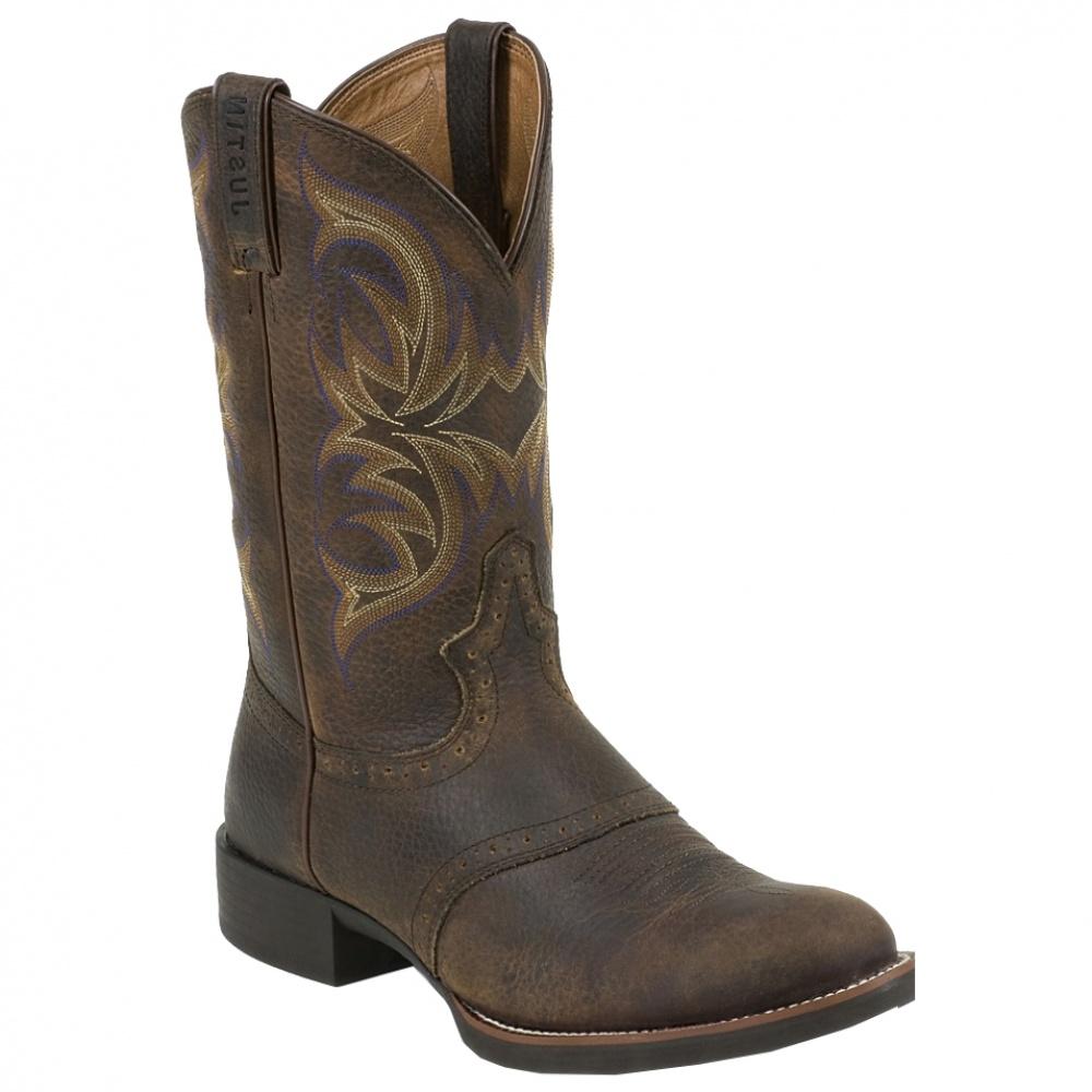 Justin Boots Stampede Dark Brown Rawhide W Saddle Muzzy