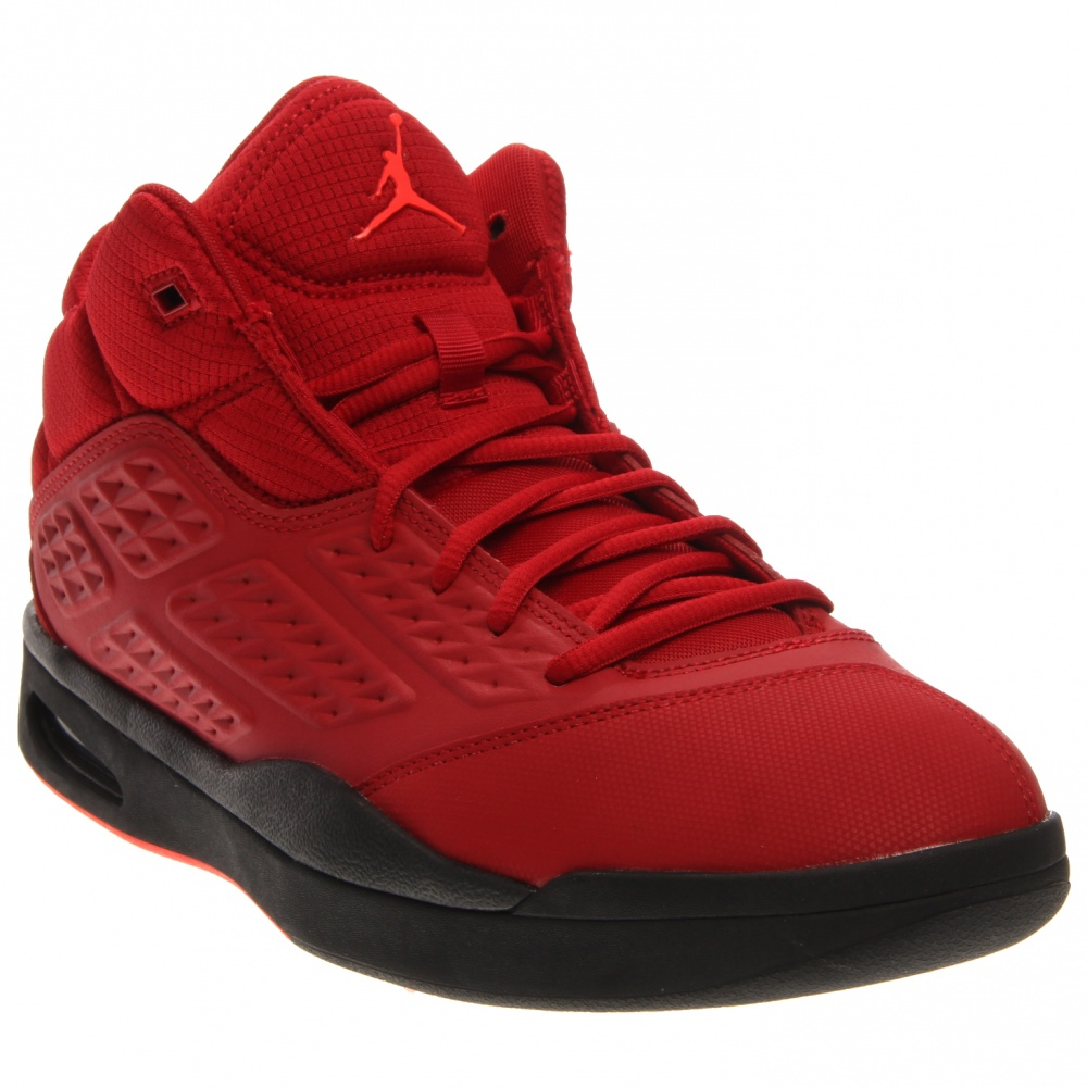 Nike Jordan New School Leather and textile upper offers durability and supportLace up closure for customizable fitPlush collar lining for a comfortable fitTraditional tongue construction for ease of entryVisible Air-Sole unit in the heel provides cushioning and impact protectionSolid rubber outsole enhances durability and tractionDeep flex grooves and a circular pattern enhance natural motion and traction